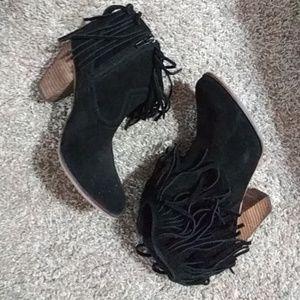 Steven Black Suede Ankle Boots 8 M